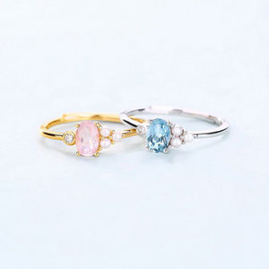 4x6 Oval Blue Topaz/Pink Crystal Pearl Silver Ring